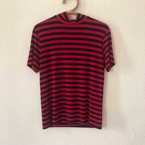 Vintage Striped Mockneck Top L